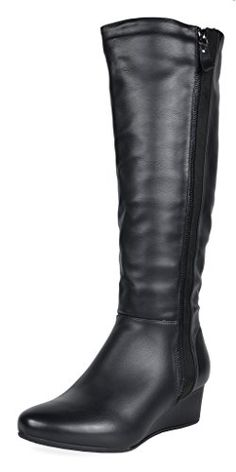 a6615f60cf27 DREAM PAIRS Womens Consta Black Low Wedege Knee High Winter Boots Size 8 M  US     To view further for this item