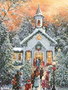 I am such a sucker for these cheesy winter/christmas scenes! Christmas Scenes, Old Fashioned Christmas, Christmas Past, Christmas Pictures, Christmas Greetings, Winter Christmas, Christmas Service, Winter Snow, Vintage Christmas Cards