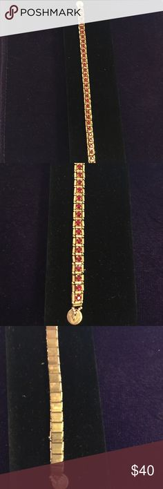 """6"""" Princess Kate Red Crystal & Gold Bracelet New- Artist Made Princess Kate 6"""" Red Crystals Bracelet! What a stunning gift for the woman in your life for Mother's Day or any other special occasion! You can even treat yourself like a princess! This Bracelet is divine, with sparkling crystals, gold picots on the outside edging, an olive backing and a strong round gold magnetic clasp. Packaged in a jewelry organza bag. Or if you wish, for $5.00 more, receive in a black velvet Long box with 2…"""