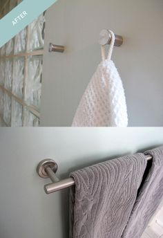 """These wonderful """"woodgrain"""" organic cotton towels from @west elm made it from our Pinterest board into our bathroom makeover: http://ourhaus.blogspot.com/2012/10/the-1000-or-so-bathroom-makeover-after.html#"""