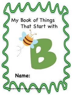 ALPHABET BOOK FOR LETTER B LETTER-SOUND-OBJECT RECOGNITION ACTIVITIES - TeachersPayTeachers.com