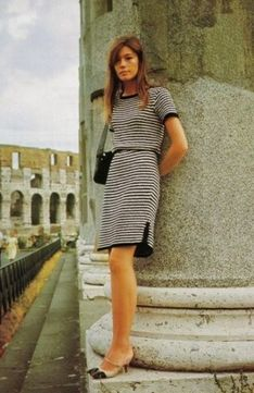 Françoise Hardy in the cutest tricot ensemble and OMG two toned shoes!