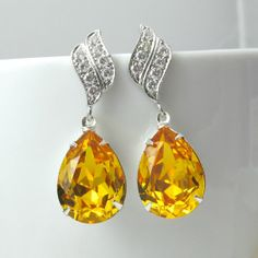 Yellow Sunflower Earrings Swarovski Crystal Teardrop Lemon Zest Earrings Canary Yellow Jewelry Hypoallergenic Post Earrings Bridesmaid Gift