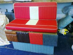 Red and white vw camper bench Car Seat Upholstery, Smart Car, Vw Camper, Campervan, Outdoor Furniture, Outdoor Decor, Toy Chest, Storage Chest, Car Seats
