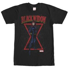 Marvel Black Widow Red Hourglass Black T-Shirt