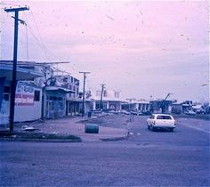 Fannie Bay shopping centre. Cyclone Tracy damage 1974.