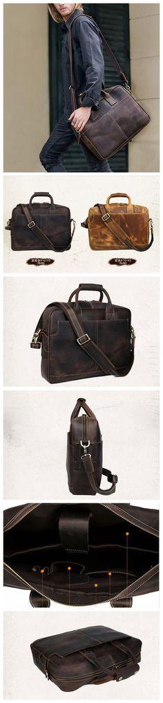 Handmade Genuine Leather Briefcase, Laptop Bag For Men