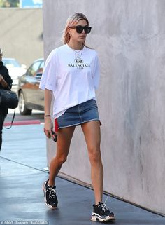 Pin parade: Hailey Baldwin donned quite a leggy look for lunch at West Hollywood restaurant Zinqué on Thursday
