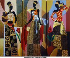 Trio de Africanas Isabel Gonzalez - Artelista. African American Artwork, African Art Paintings, Art Africain, Africa Art, Black Artwork, Black Women Art, African Design, Mural Art, Woman Painting