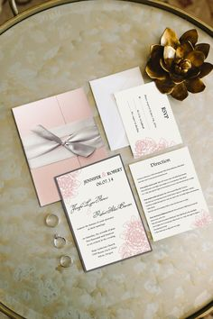 Gray and Blush Pink Pocket Wedding Invitations