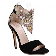 $27.57 Party Stiletto Heel and Colorful Rhinestone Design Sandals For Women