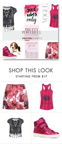 """Printed shorts"" by deeppurplesea ❤ liked on Polyvore featuring Moncler Gamme Rouge, Fifth Sun, ALDO, printedshorts and contestentry"