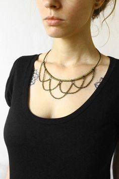 Einzigartiges geschichteten Kette Halskette für Frau. Natürliche, herausragende und einzigartiges aussehen! Top-Qualität metallische Olive