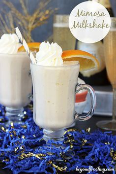 Mimosa Milkshake. A vanilla milkshake made with orange juice and champagne creates a bubbly milkshake that will leave you wanting seconds. Serve them in a shot glass for the perfect New Year's Eve Dessert!