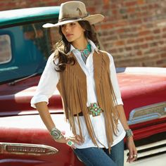 Fringed Buckskin Vest by Tasha Polizzi from Crow's Nest Trading Co. http://www.crowsnesttrading.com/product/14960/tops