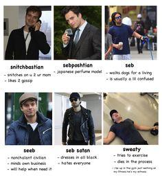 Tag yourself: Seeb, Seb Satan, and Sweaty