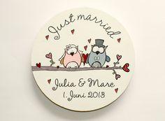 Namens- & Türschilder - Türschild Hochzeitseulen Holzscheibe just married - ein Designerstück von byAnnoDomini bei DaWanda