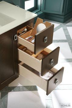 Dream bathroom storage featuring Kohler Poplin tailored vanity.