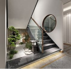 Chinese Staircase, Modern Japanese Interior, Shelf Inspiration, Small Space Living Room, Internal Courtyard, Templer, Wood Slats, Decorating Small Spaces, Innovation Design