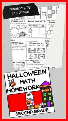 Teaching Schools, Elementary Schools, Teaching Resources, Teaching Second Grade, Second Grade Math, Halloween Math, Math Concepts, Word Problems, Homework