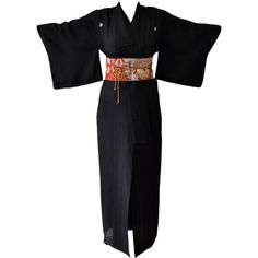 Preowned Authentic Hand Made Japanese Kimono From Tokyo ($950) ❤ liked on Polyvore featuring intimates, robes, vintage kimono, vintage robe, kimono robe and vintage kimono robe