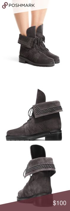 Stuart Weitzman Yadastud Suede Fold Over Gray Boot Stuart Weitzman Yadastud Suede Fold Over Gray Lace Up Booties new without box Stuart Weitzman Shoes Ankle Boots & Booties