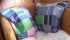 Herinneringskussens, patchworkkussenhoezen gemaakt van de mooie kleding van papa www.creacrola.nl