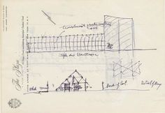 Frank Lloyd Wright #sketch of The Pavilion and Usonian House, 1953 #architecture