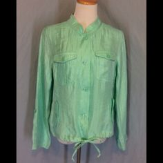 NWOT Christopher & Banks Seafoam Green Lite Jacket New without tags, no defects. Rayon, nylon and polyester blend. Button front. Four pockets in front. Drawstring bottom. Long sleeves that can be rolled and buttoned to be 3/4 length. This is a very lite jacket meant for my mild weather. Bust 22 inches flat. Length 23 inches. Christopher & Banks Jackets & Coats