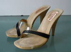 Made in Italy Clear Vinyl Heeled  Gallenkamp Sandals Size 8US by EurotrashItaly on Etsy