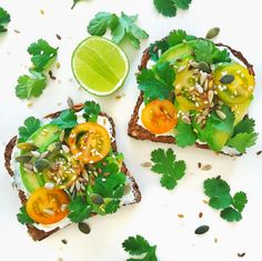 Rye and Labneh Toast: Toast wholegrain rye bread, lather with labneh, avocado, sliced heirloom tomatoes, and then sprinkle with coriander, mixed seeds, and a squeeze of lime.