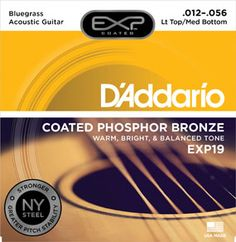 EXP19 Coated Phosphor Bronze, Light Top/Medium Bottom/Bluegrass, 12-56 : A  hybrid gauge, combining medium bottom strings with light top strings. Big sound with comfortable playability : EXP Coated phosphor bronze for warm, bright, well balanced acoustic tone and 4 times more life : Features our exclusive New York manufactured, high carbon steel for unprecedented strength and pitch stability. Environmentally friendly, corrosion resistant packaging for strings that are always fresh