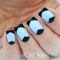 Azul celeste/negro francesa/media luna triangular