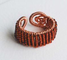 Copper Wire Wrap Copper Seed Bead Adjustable Handmade Woven Cocktail Ring