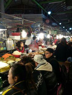 A food street at Gwangjang Market presenting hundreds of local Korean foods, downtown Seoul, South Korea