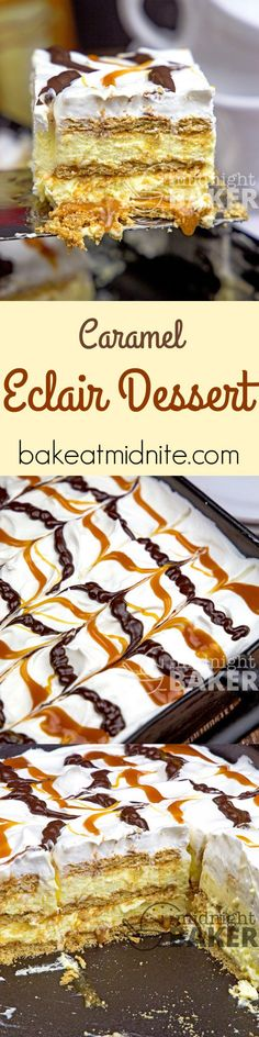 Caramel Eclair Dessert – The Midnight Baker A new twist on an old potluck classic. Spicy cinnamon grahams, gobs of gooey caramel and velvety-smooth cream filling. 13 Desserts, Summer Desserts, Delicious Desserts, Yummy Food, Sweet Recipes, Cake Recipes, Dessert Recipes, Snack Recipes, Oreo Dessert