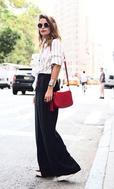 Street style look com pantalona.