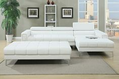 """2 pc Collette collection white bonded leather upholstered modern style  sectional sofa.  Features adjustable headrests with chrome legs and tufted design .  Sectional as shown measures 117"""" x 69"""" Long chaise x 37"""" D X 34"""" H.  Optional ottoman available at additional cost and measures 66"""" x 33"""" x 17"""" H.  Some assembly required."""