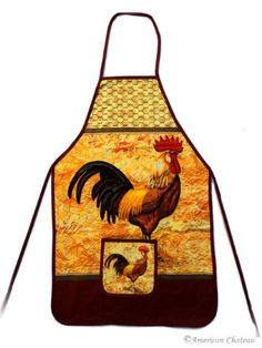 100% Cotton Kitchen Apron Country Rooster Chicken Decor:Amazon: