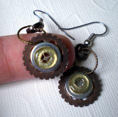 Steampunk Earrings Tiny Flowers Steampunk by MaddDoggofTomorrow