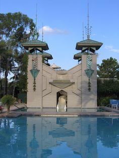 Pool at the Arizona Biltmore Hotel.Phoenix, Arizona. 1929. Frank Lloyd Wright. Schematic Design Architect. Albert Chase McArthur project Architect.