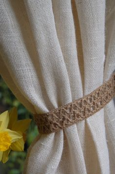Cottage chic, Jute curtain tie back / pull back, with metal rings. Curtain Pull Backs, Magnetic Curtain Tie Backs, Drapery Tie Backs, Curtain Ties, Van Curtains, Crochet Curtains, Burlap Curtains, White Curtains, Cottage Chic