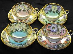 PARAGON SET OF 4 COLLECTION FLOWER CHINTZ BORDER TEA CUP AND SAUCER ROSES POPPY #ParagonEnglandRoyal