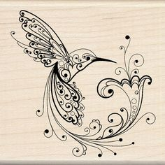 Fairy black-line hummingbird with swirly elements tattoo design