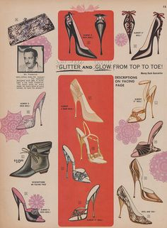 Frederick's of Hollywood catalog, Christmas shoes Vintage Glamour, Vintage Lingerie, Vintage Love, Vintage Barbie, Vintage Shoes, Vintage Ads, Vintage Advertisements, Vintage Outfits, 1930s Shoes