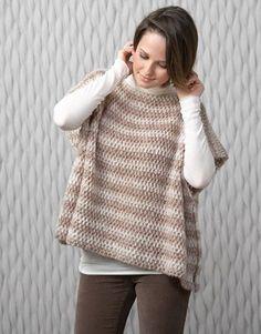 Free crochet poncho pattern at Katia.