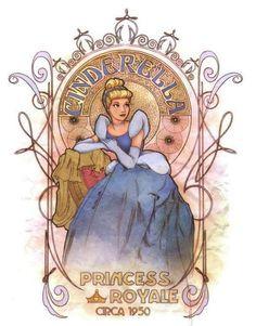 Disney Art Nouveau Cinderella Enrique Pita and Ed Irizarry Art Nouveau Disney, Walt Disney, Disney Love, Disney Magic, Disney Girls, Disney Fan Art, Disney Princess Art, Disney E Dreamworks, Disney Pixar