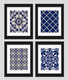 navy blue art blue white wall art home decor set by inkandnectar