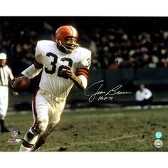 ... Jim Brown Cleveland Browns Signed Football Rushing 16x20 Photo wHOF  71Insc. a9e957fb9