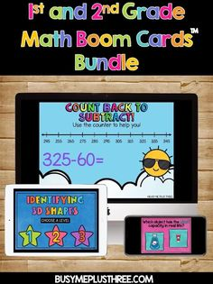 Purchase this bundle and save over 45% off....That is less than $1.75 per deck! These 1st and 2nd grade math Boom Cards were made to make practicing math skills engaging and fun for young students. This bundle includes 21 sets of Boom Cards. These were made with first and second grade students in mind, but you can adapt it to your lessons to review the skills with third graders or to challenge high level kindergartners. #Fractions #Numberlines #Addition #Subtraction #Fun #Games #Activities 1st Grade Math, Second Grade, Game Boom, Time To The Hour, Triangular Prism, Math Measurement, Kindergarten Games, Adding And Subtracting, Math Skills